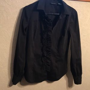 Black fitted blouse with ruffle